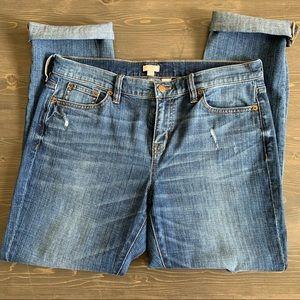 J Crew Light Wash Distressed Straight Leg Jeans